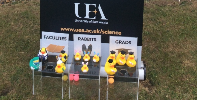 Our ballistic ducks! They represent three things about the University. The heavier 'Faculty' Ducks: Health;Humanities, Social Sciences and Sciences. The dignified Graduate Ducks and the little light bunny ducks!