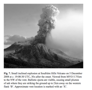 A real 'inclined' explosion, Soufriere Hills Volcano, Montserrat on 8th December 2008, from Cole et al., 2014.