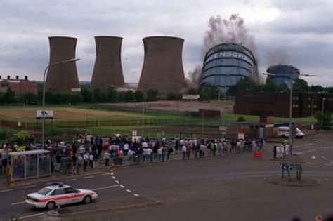 The demolition of the Ravenscraig towers in the 1990s. The closure of the steelworks lost 770 jobs with another 10,000 indirectly lost (WIkipedia)